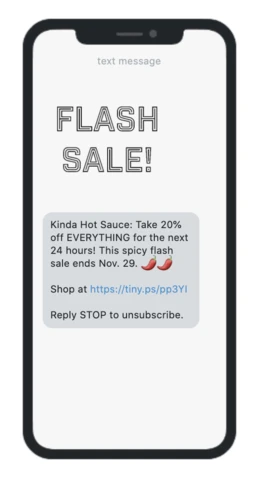 flash sale sms marketing example